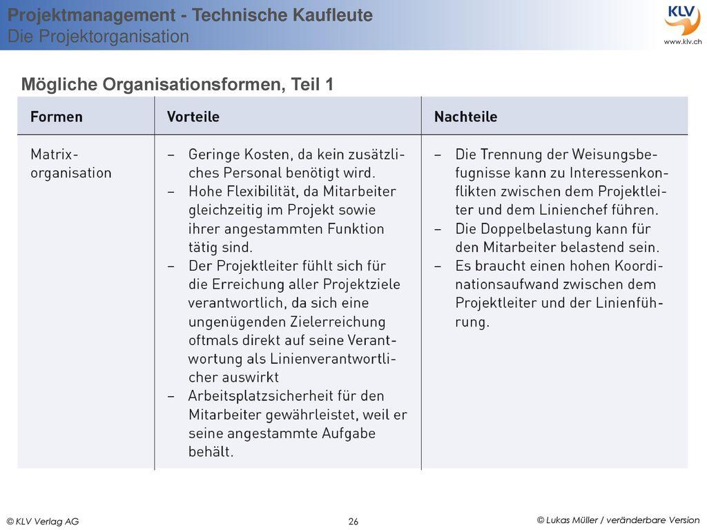 Mögliche Organisationsformen, Teil 1