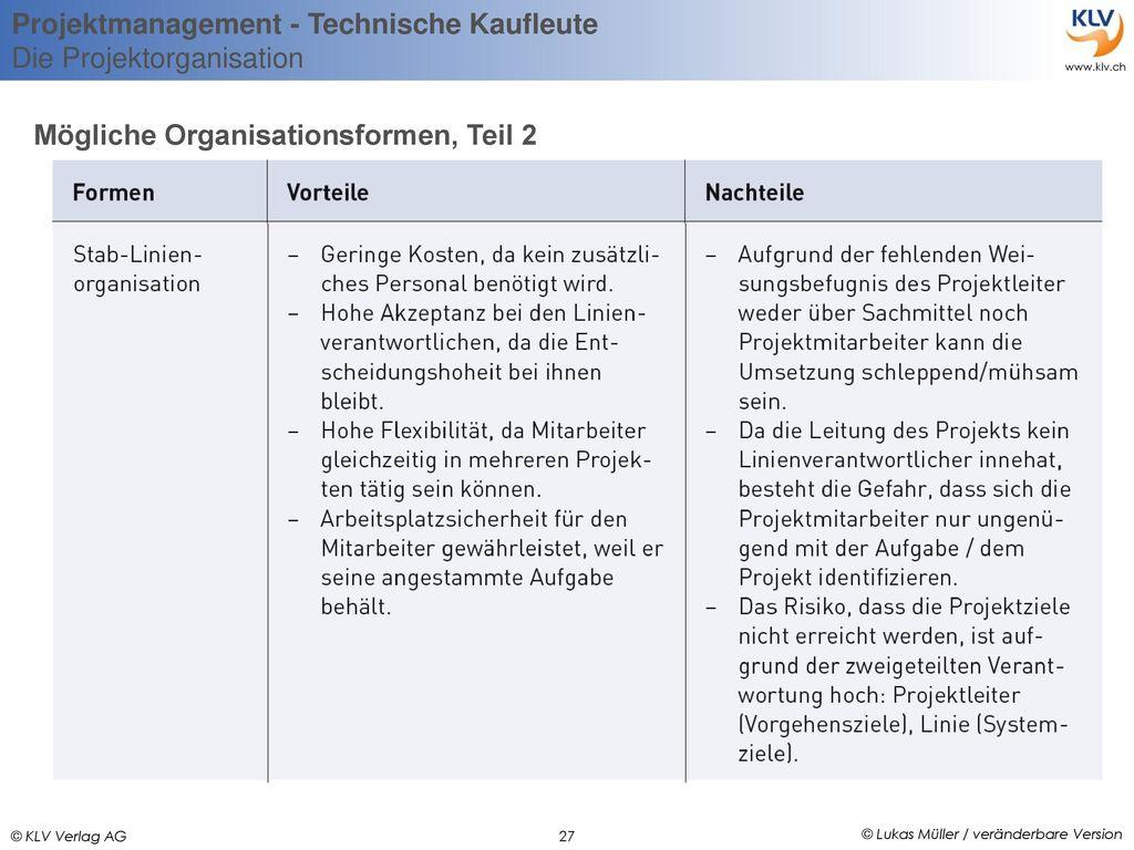 Mögliche Organisationsformen, Teil 2