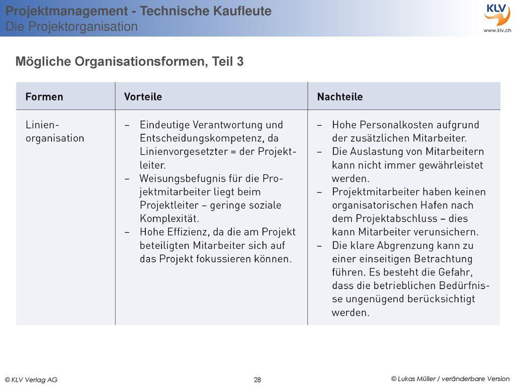 Mögliche Organisationsformen, Teil 3