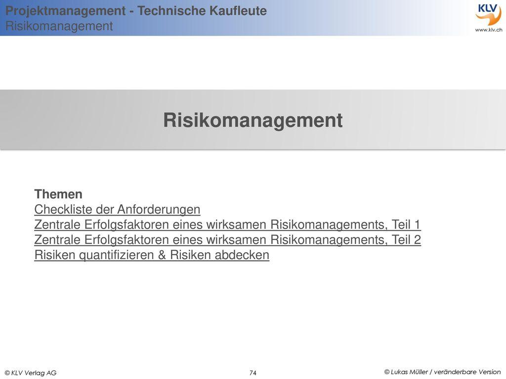 Risikomanagement Themen Checkliste der Anforderungen