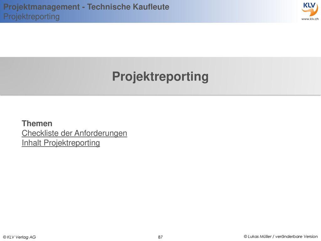 Projektreporting Themen Checkliste der Anforderungen