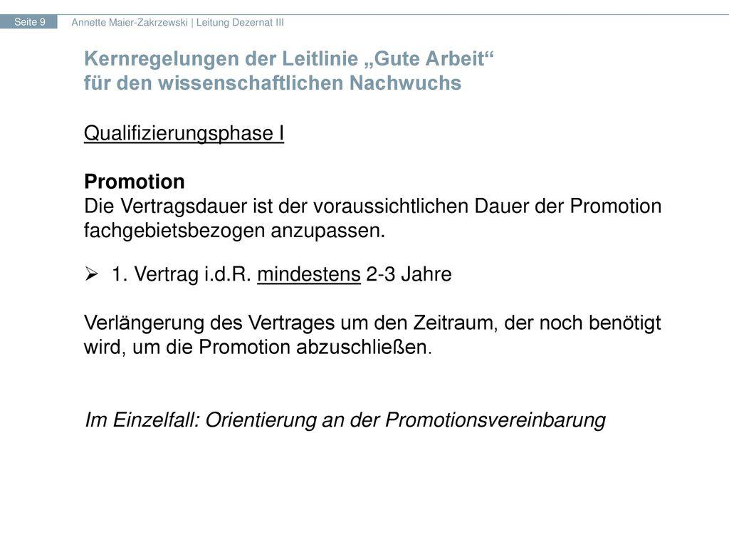 Qualifizierungsphase I Promotion