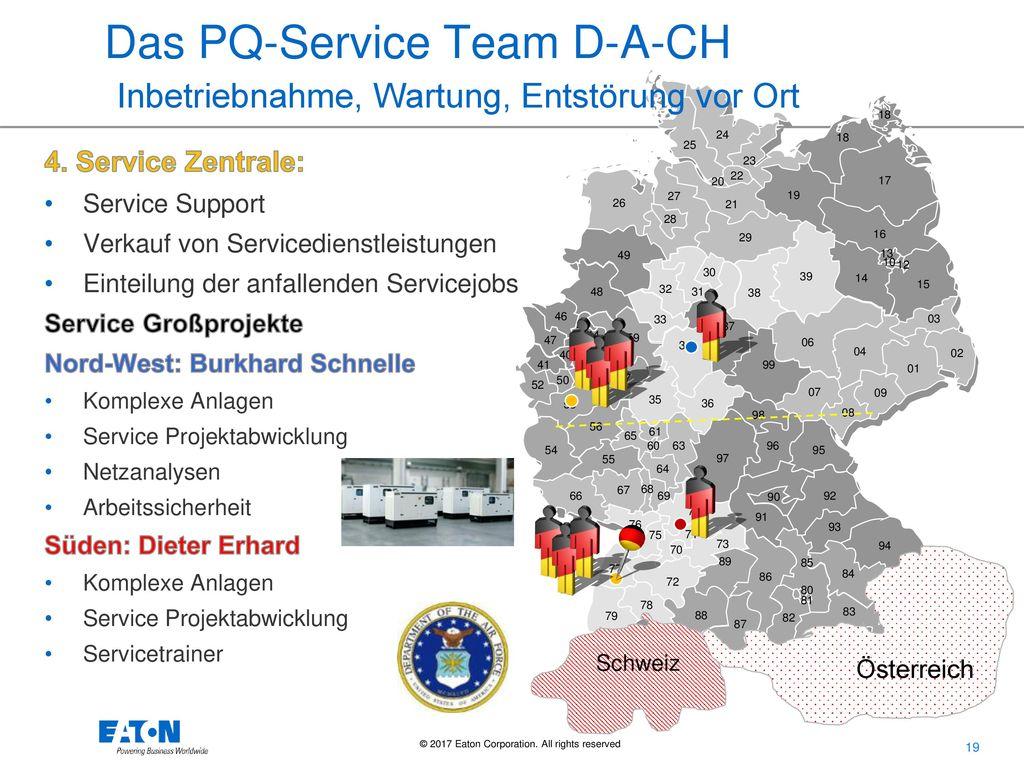 Das PQ-Service Team D-A-CH Inbetriebnahme, Wartung, Entstörung vor Ort