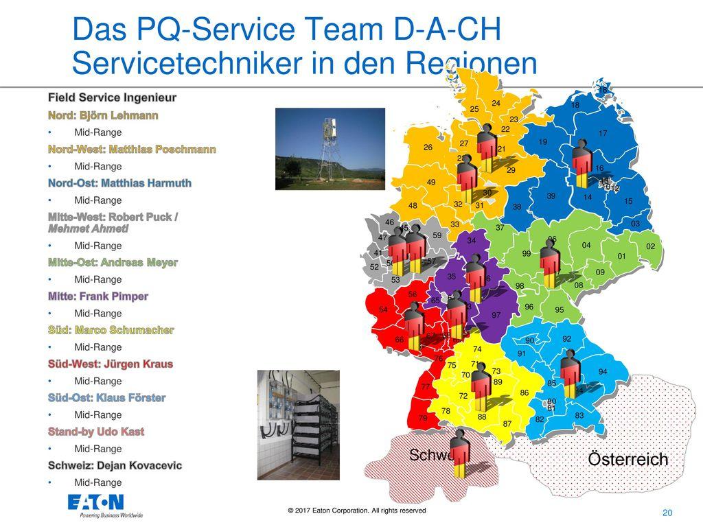 Das PQ-Service Team D-A-CH Servicetechniker in den Regionen