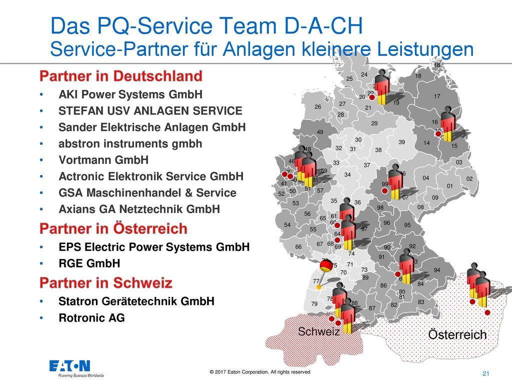 Das PQ-Service Team D-A-CH Service-Partner für Anlagen kleinere Leistungen