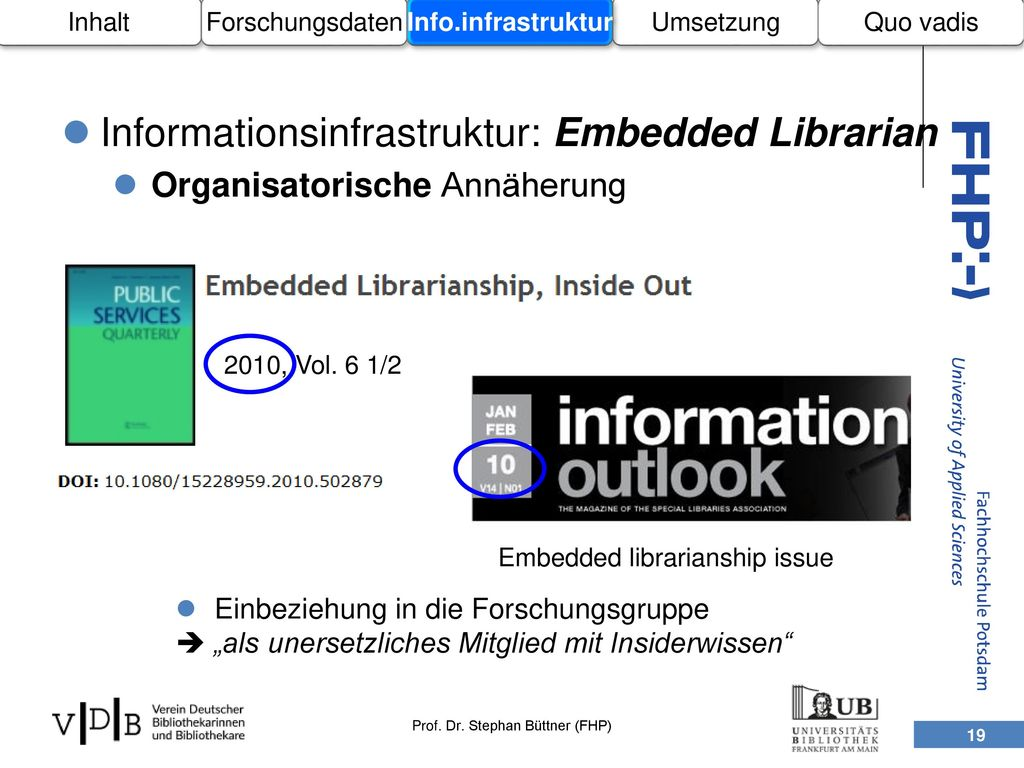Informationsinfrastruktur: Embedded Librarian