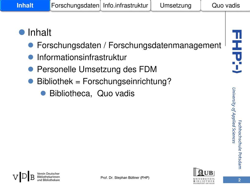 Inhalt Forschungsdaten / Forschungsdatenmanagement