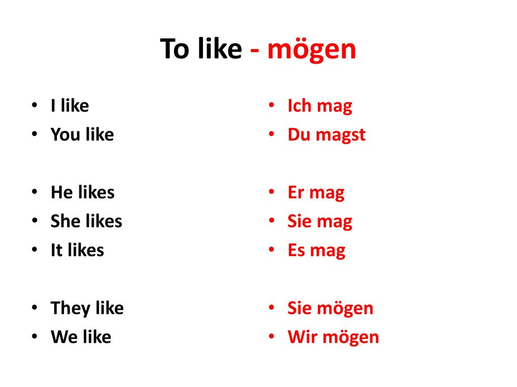 To like - mögen I like You like He likes She likes It likes They like