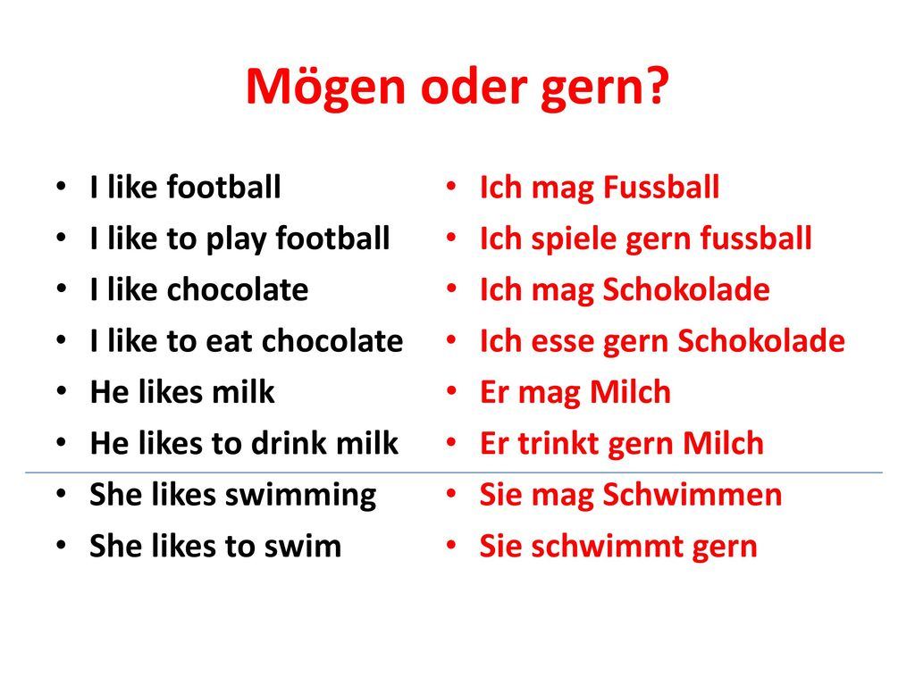 Mögen oder gern I like football I like to play football