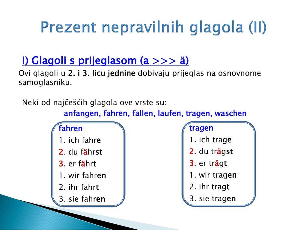 Prezent nepravilnih glagola (II)