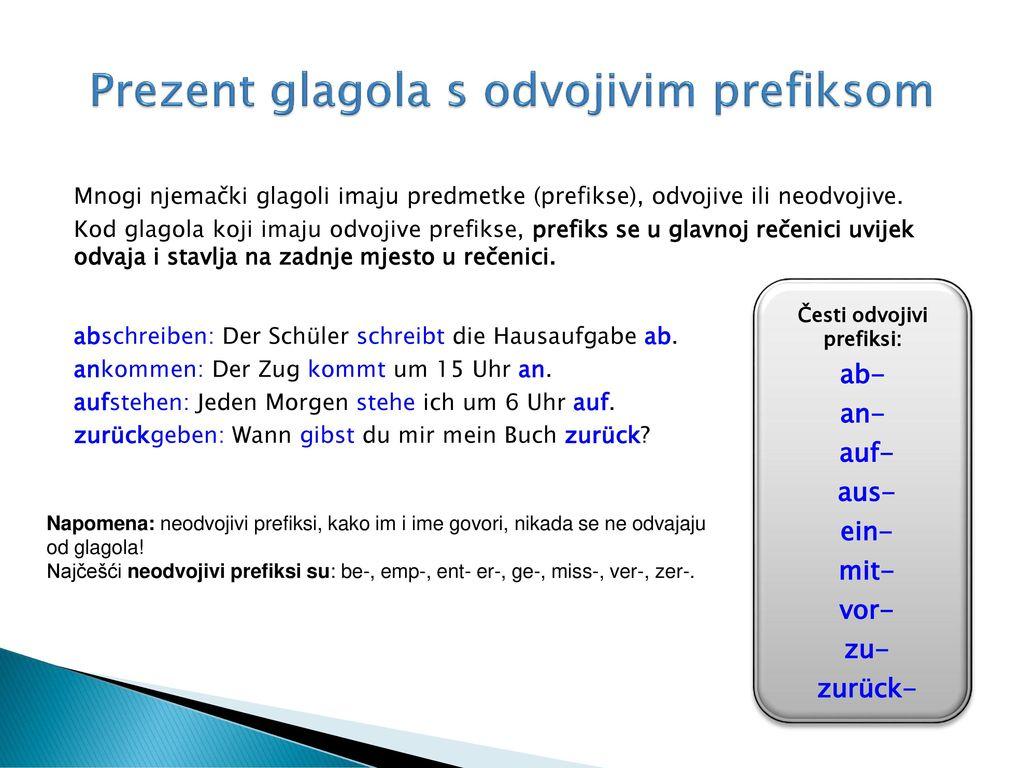Prezent glagola s odvojivim prefiksom