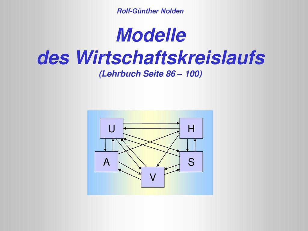 Rolf-Günther Nolden Modelle des Wirtschaftskreislaufs (Lehrbuch Seite 86 – 100)