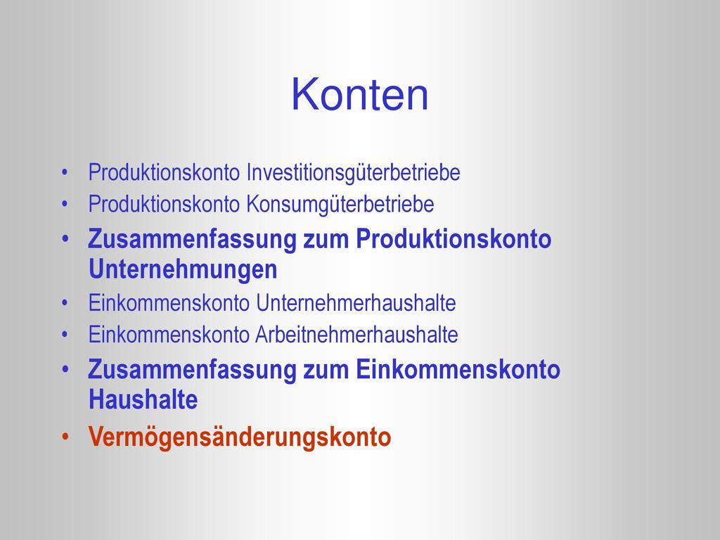 Konten Zusammenfassung zum Produktionskonto Unternehmungen