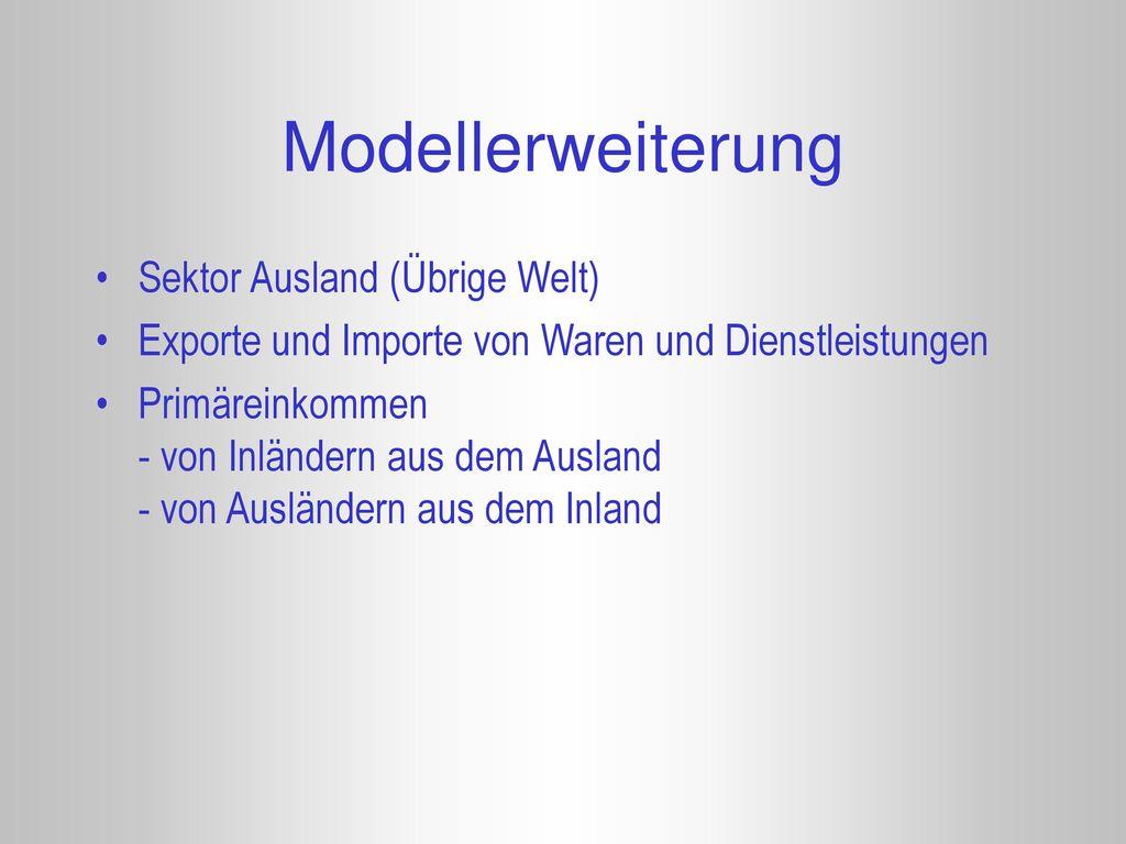 Modellerweiterung Sektor Ausland (Übrige Welt)