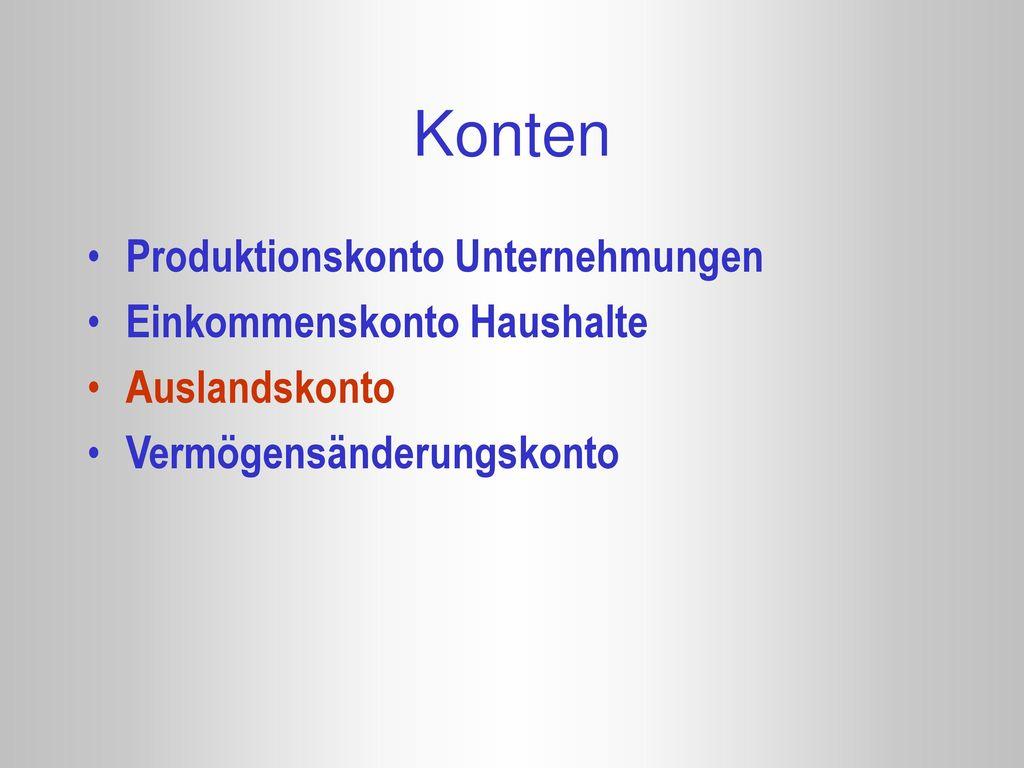 Konten Produktionskonto Unternehmungen Einkommenskonto Haushalte