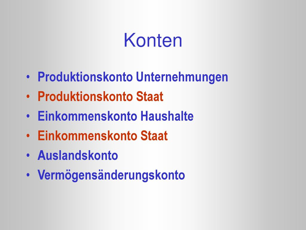 Konten Produktionskonto Unternehmungen Produktionskonto Staat