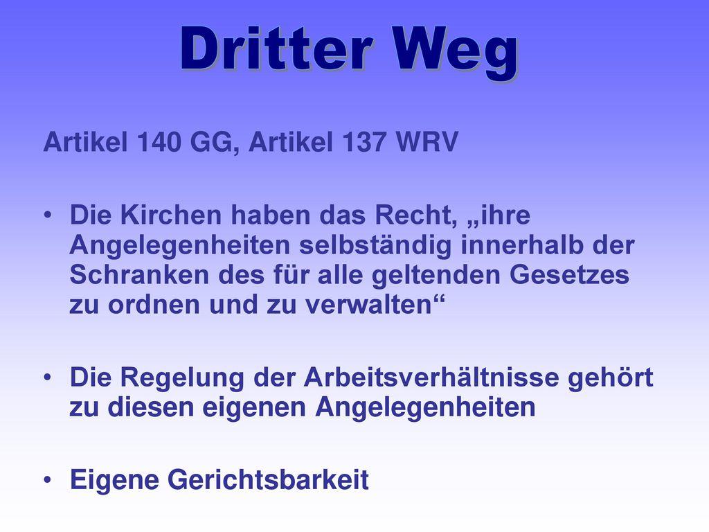 Dritter Weg Artikel 140 GG, Artikel 137 WRV