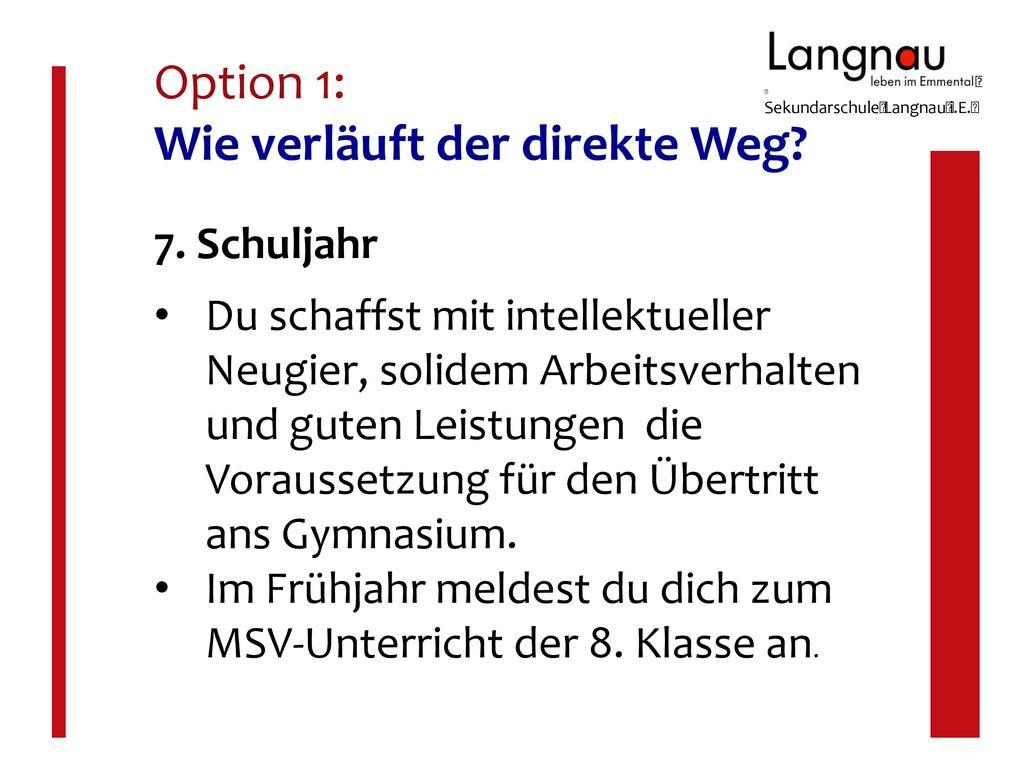 Option 1: Wie verläuft der direkte Weg