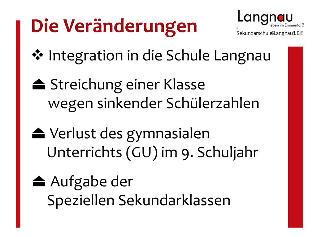 Die Veränderungen  Integration in die Schule Langnau