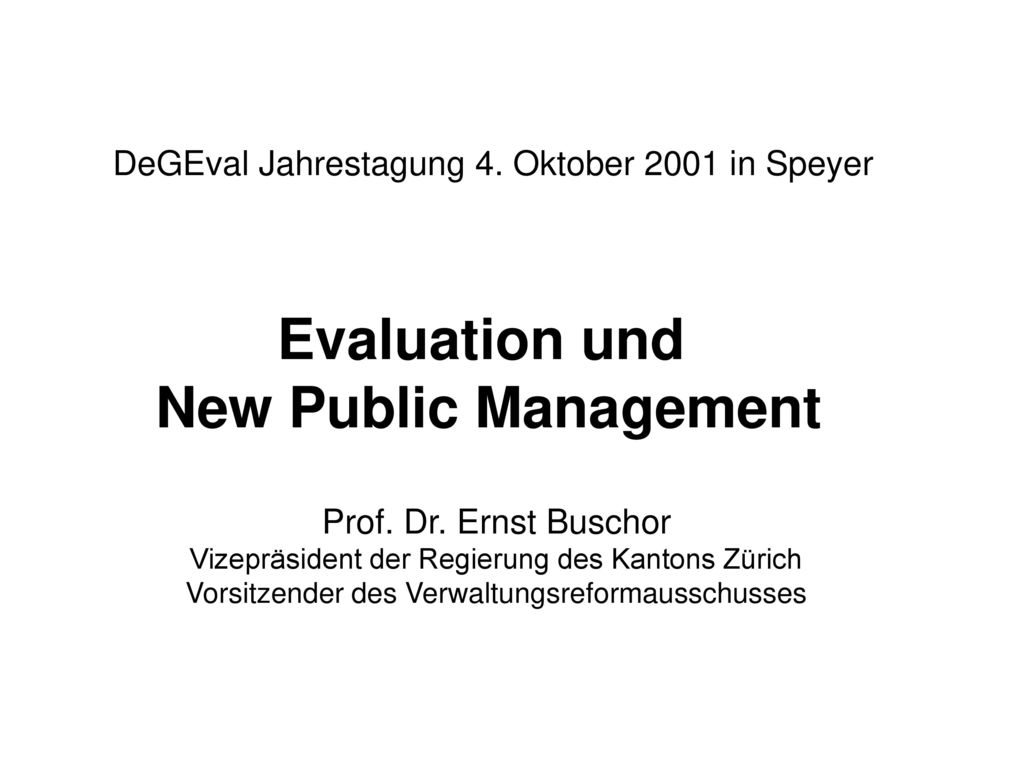Evaluation und New Public Management