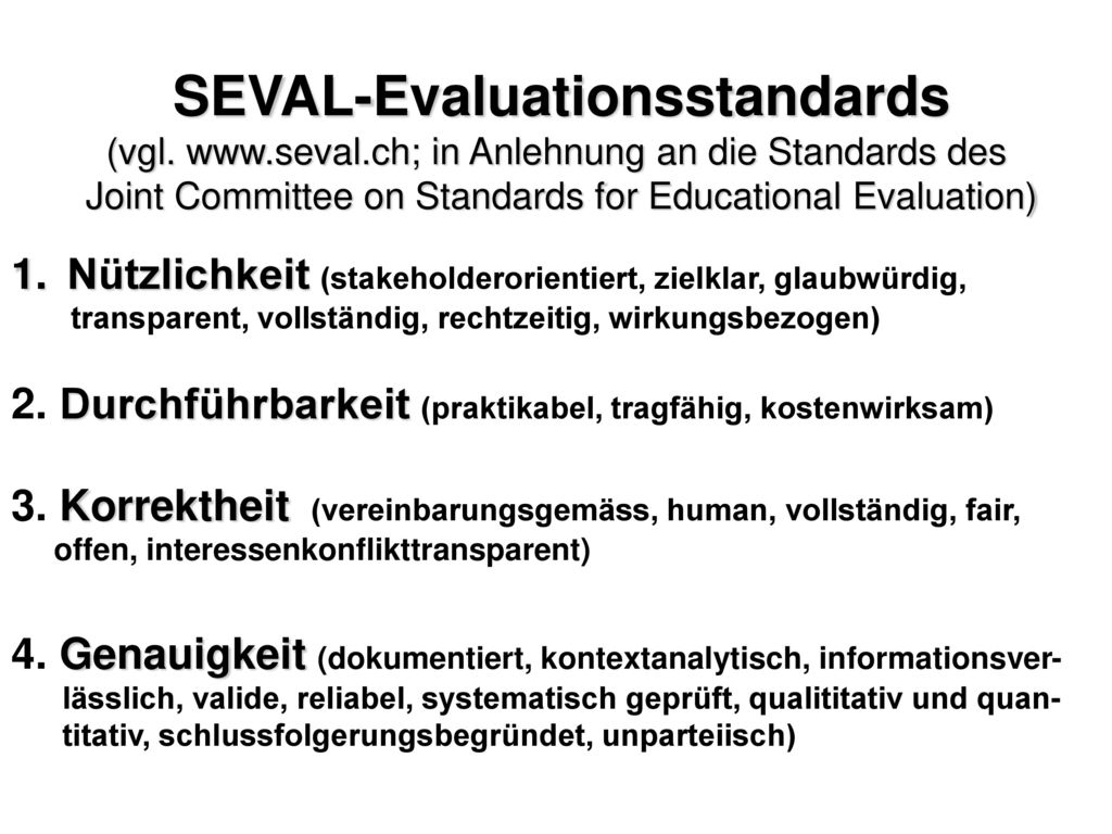 SEVAL-Evaluationsstandards