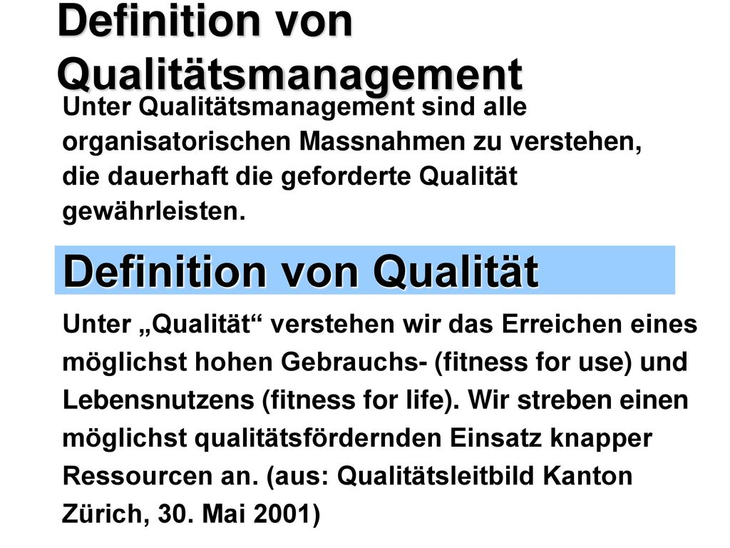 Definition von Qualitätsmanagement