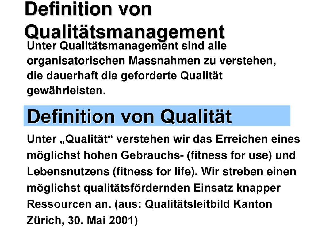 Definition von Qualitätsmanagement