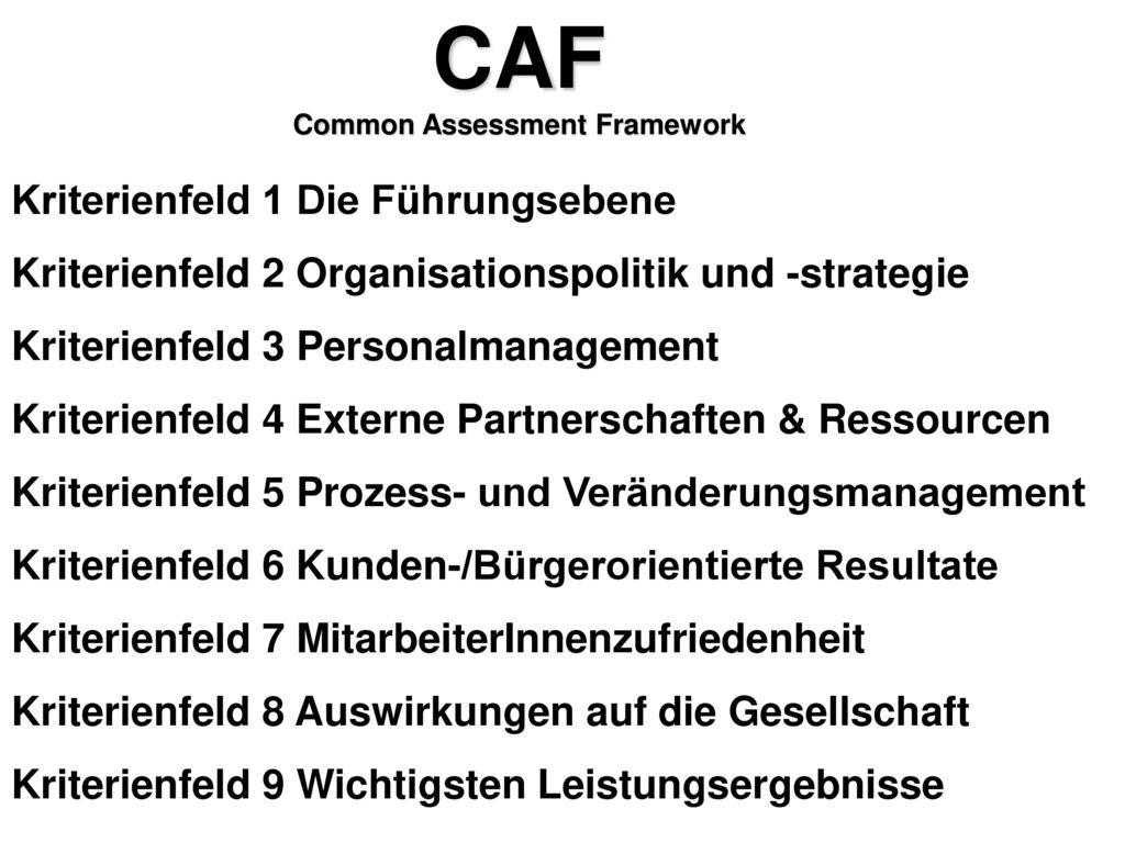 Common Assessment Framework