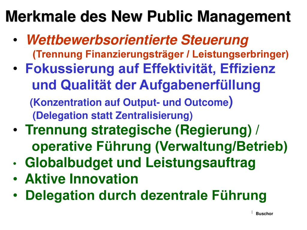 Merkmale des New Public Management
