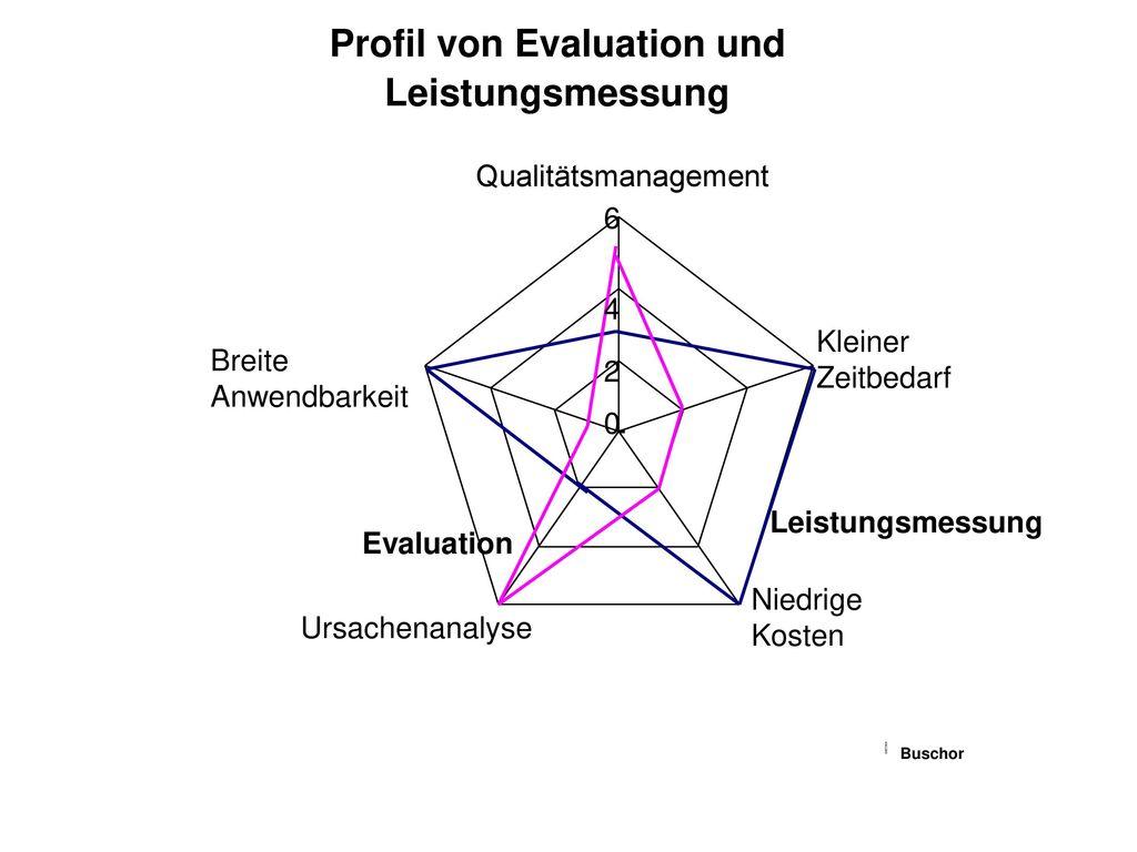 Profil von Evaluation und Leistungsmessung