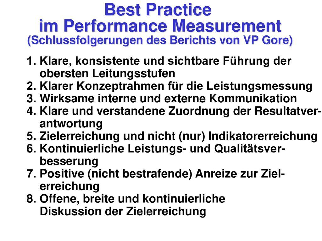 Best Practice im Performance Measurement
