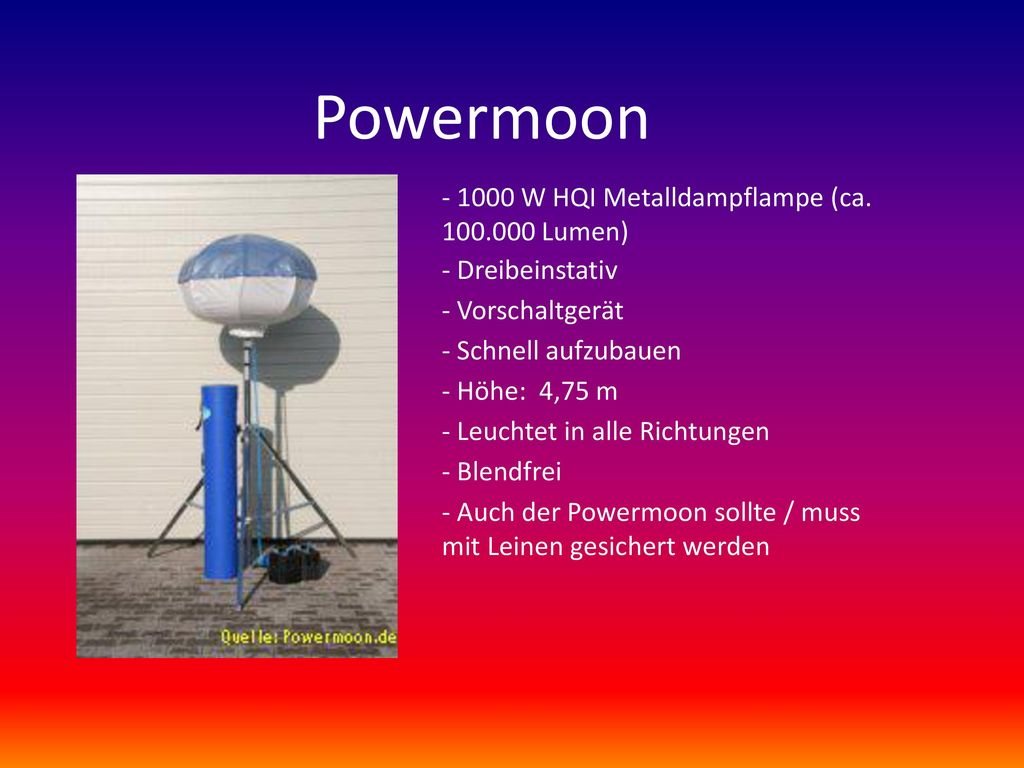 Powermoon - 1000 W HQI Metalldampflampe (ca. 100.000 Lumen)