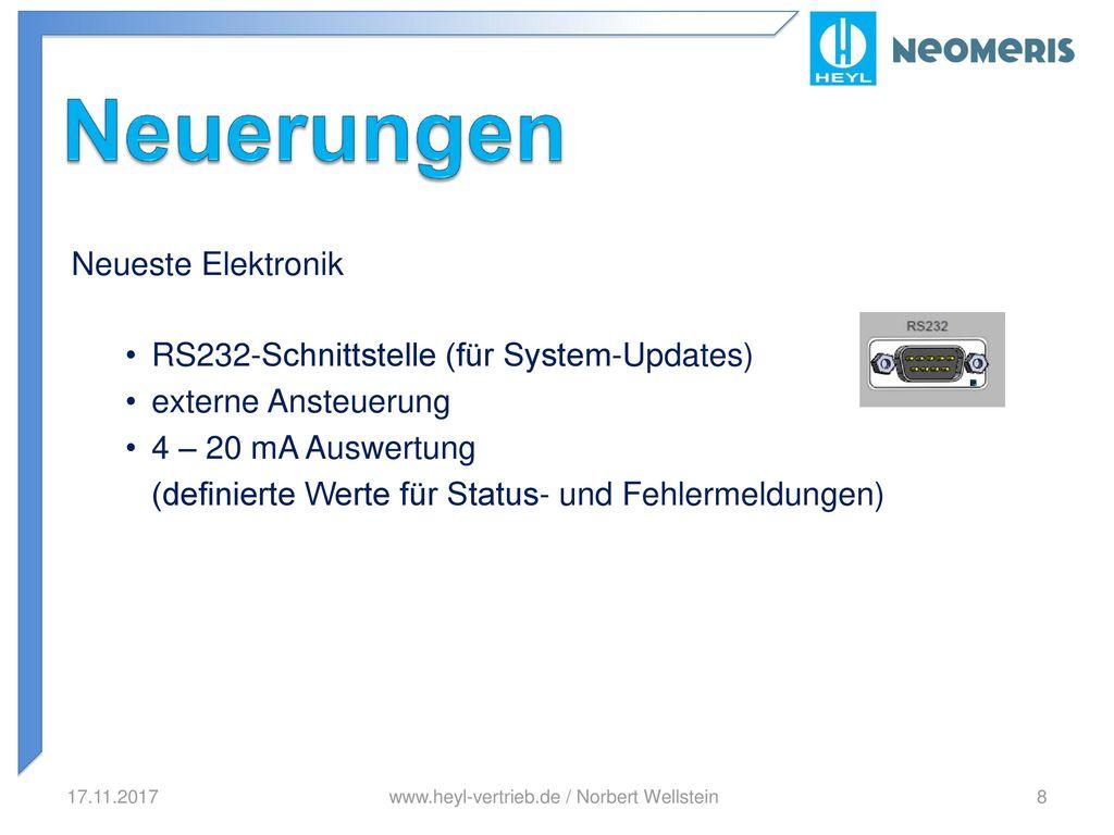 Neuerungen Neueste Elektronik RS232-Schnittstelle (für System-Updates)