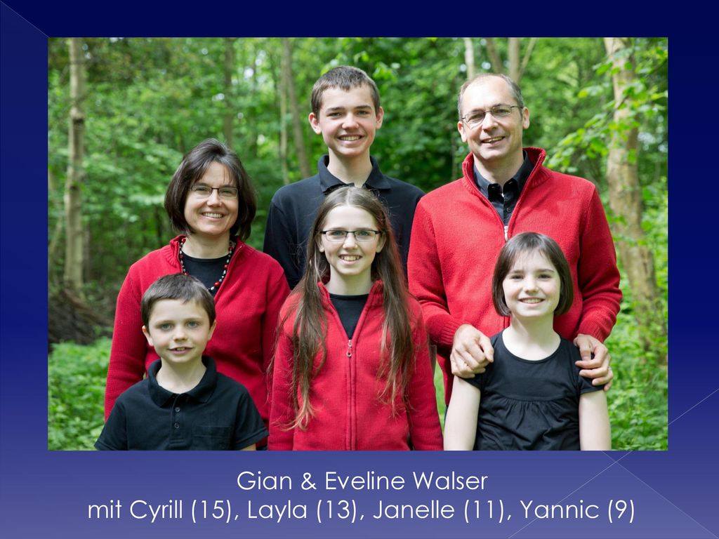 Gian & Eveline Walser mit Cyrill (15), Layla (13), Janelle (11), Yannic (9)