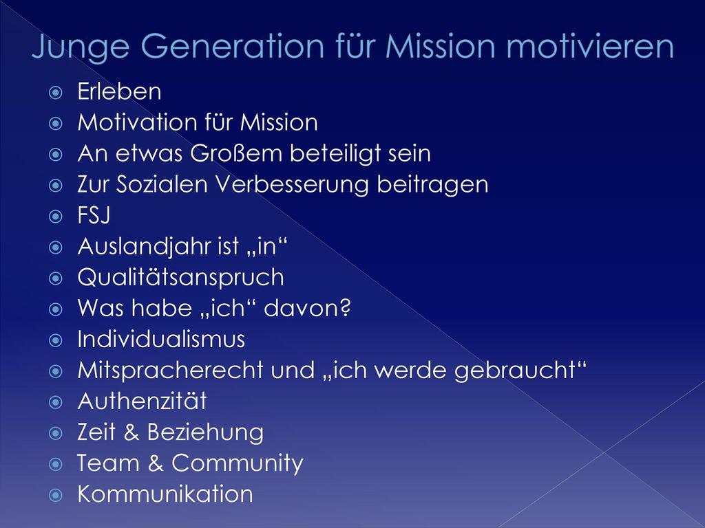 Junge Generation für Mission motivieren