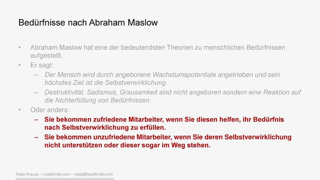 Bedürfnisse nach Abraham Maslow