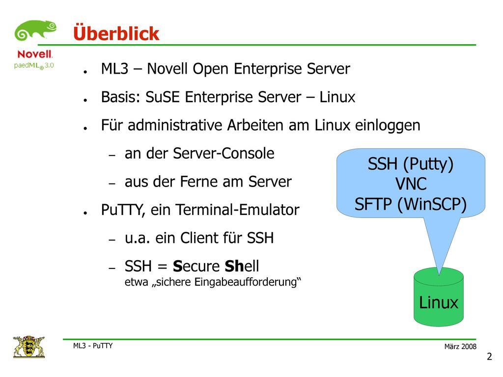 SSH (Putty) VNC SFTP (WinSCP)