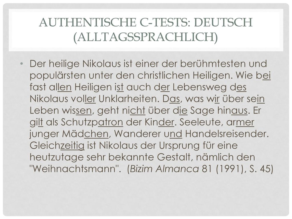 Authentische C-tests: Deutsch (alltagssprachlich)