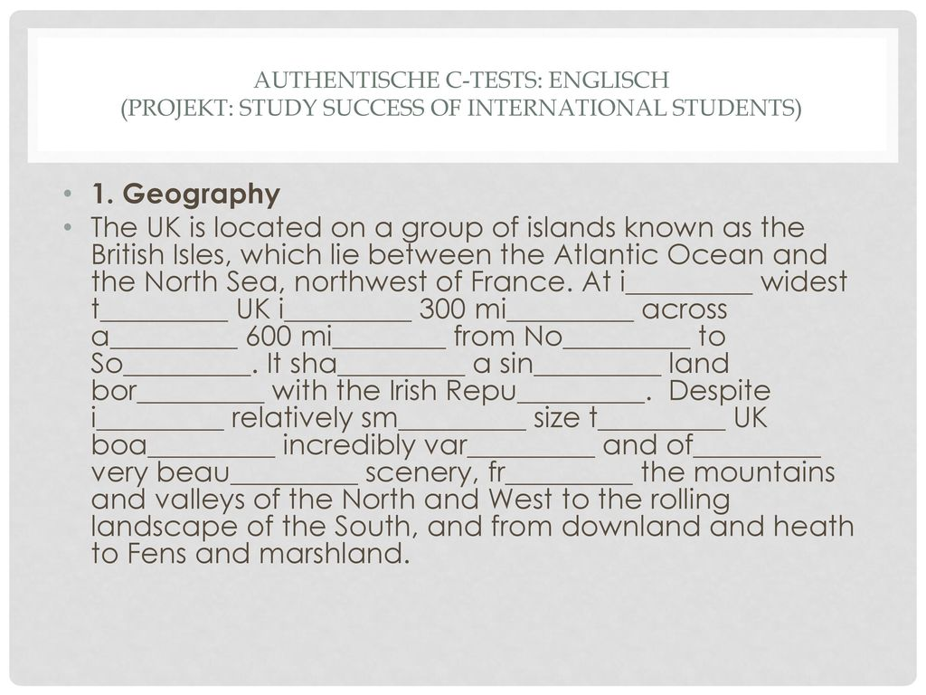 Authentische C-tests: Englisch (Projekt: study success of international students)