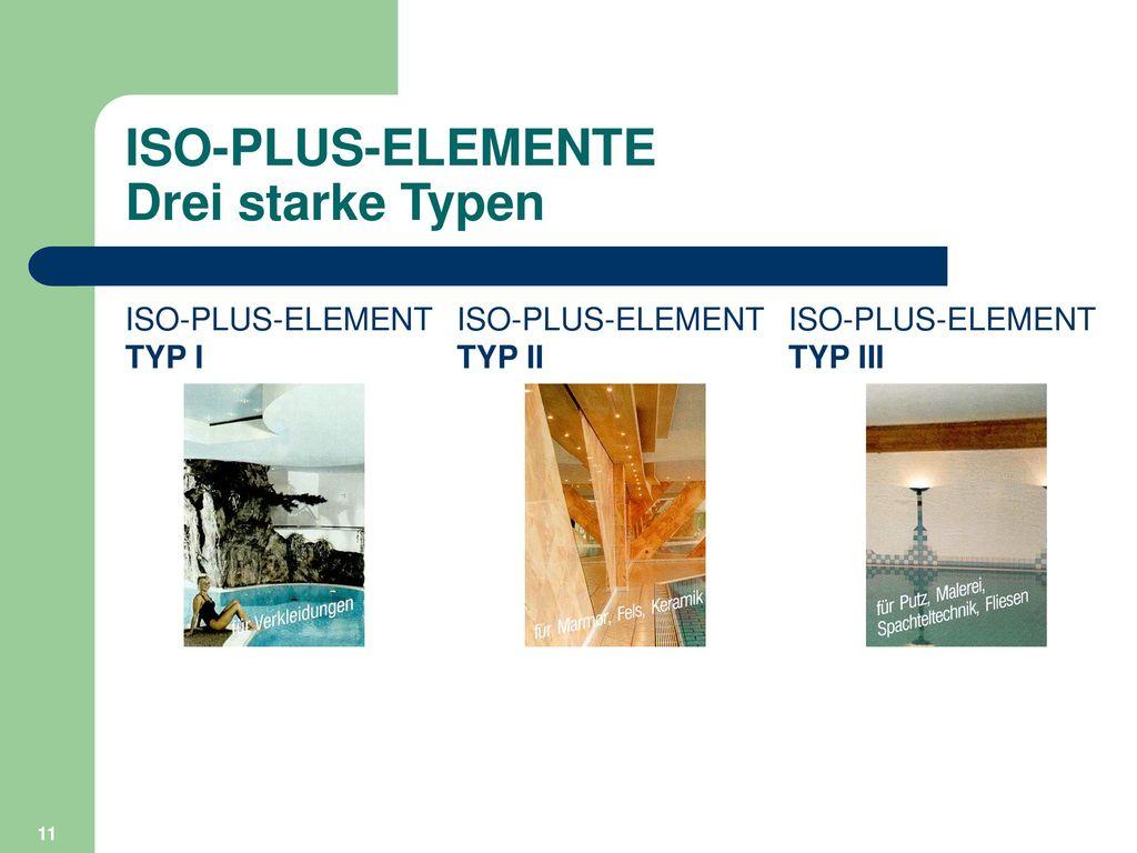 ISO-PLUS-ELEMENTE Drei starke Typen
