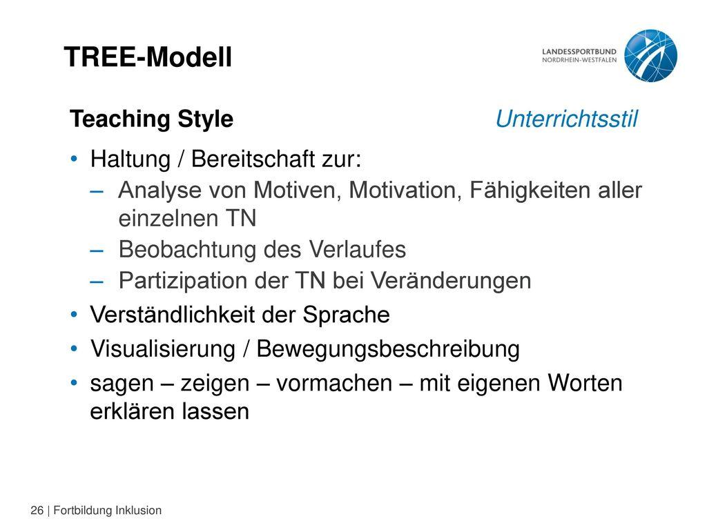 TREE-Modell Teaching Style Unterrichtsstil Haltung / Bereitschaft zur: