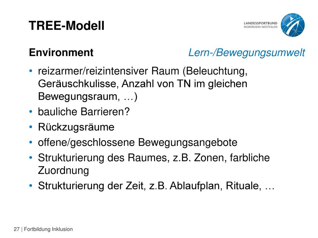 TREE-Modell Environment Lern-/Bewegungsumwelt
