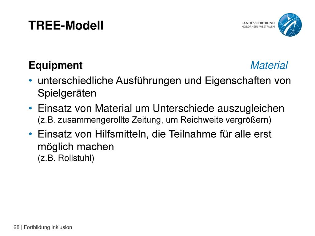 TREE-Modell Equipment Material