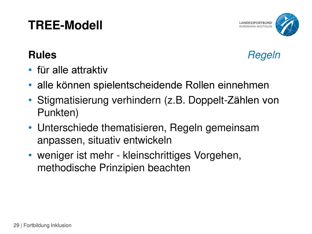 TREE-Modell Rules Regeln für alle attraktiv