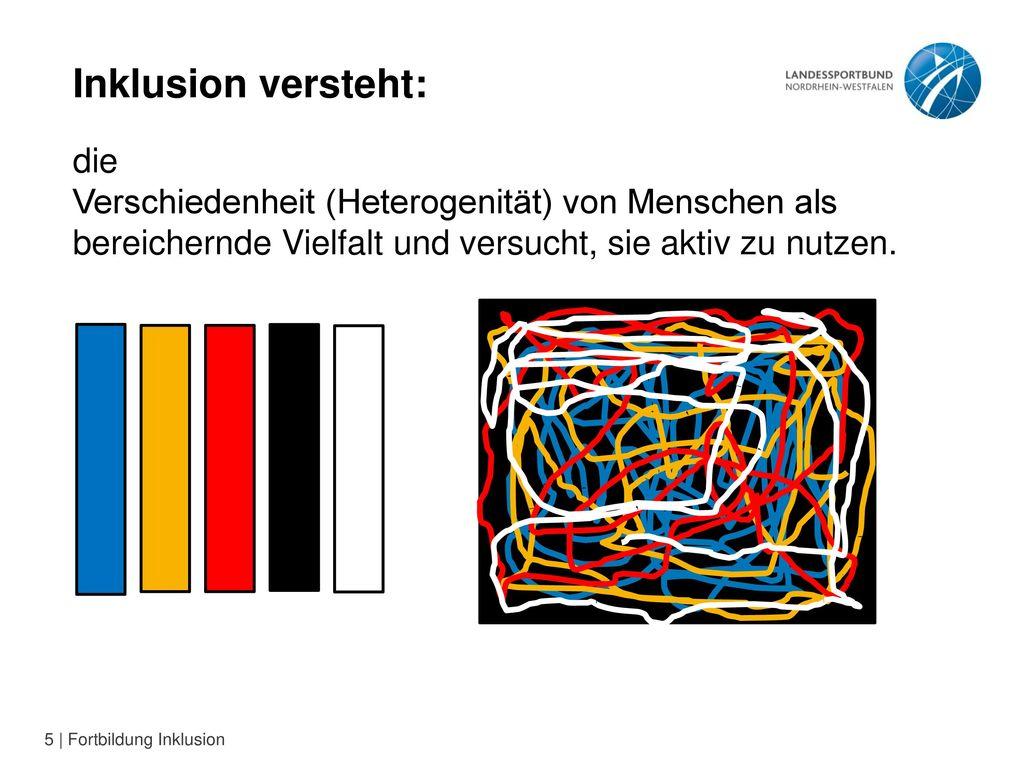 Inklusion versteht: die Verschiedenheit (Heterogenität) von Menschen als bereichernde Vielfalt und versucht, sie aktiv zu nutzen.