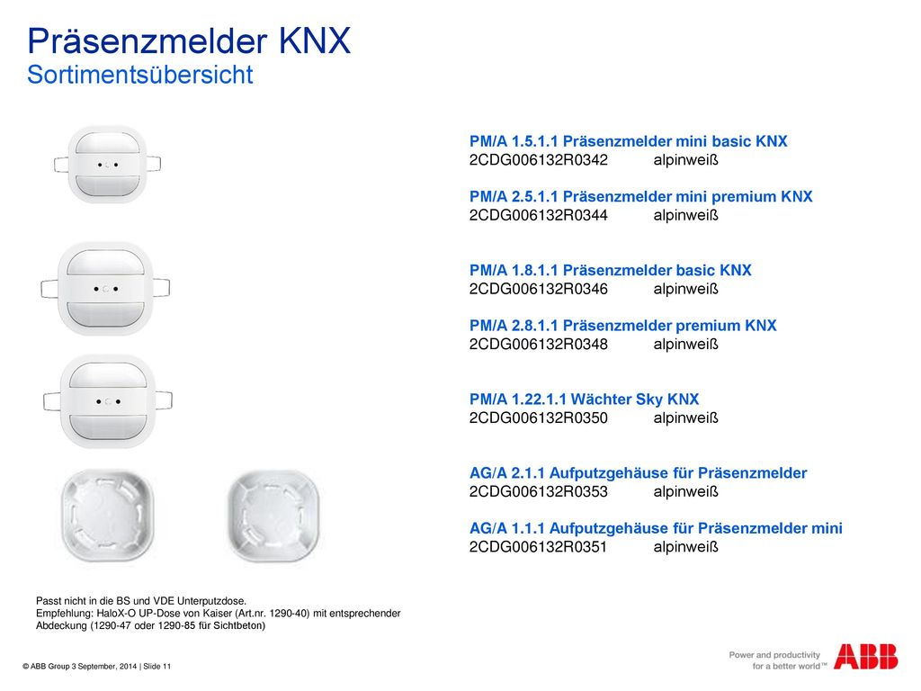 Präsenzmelder KNX Sortimentsübersicht