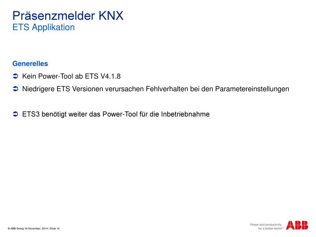 Präsenzmelder KNX ETS Applikation