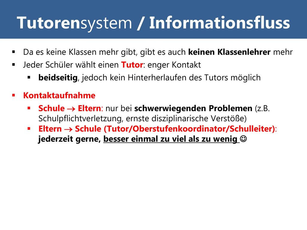 Tutorensystem / Informationsfluss