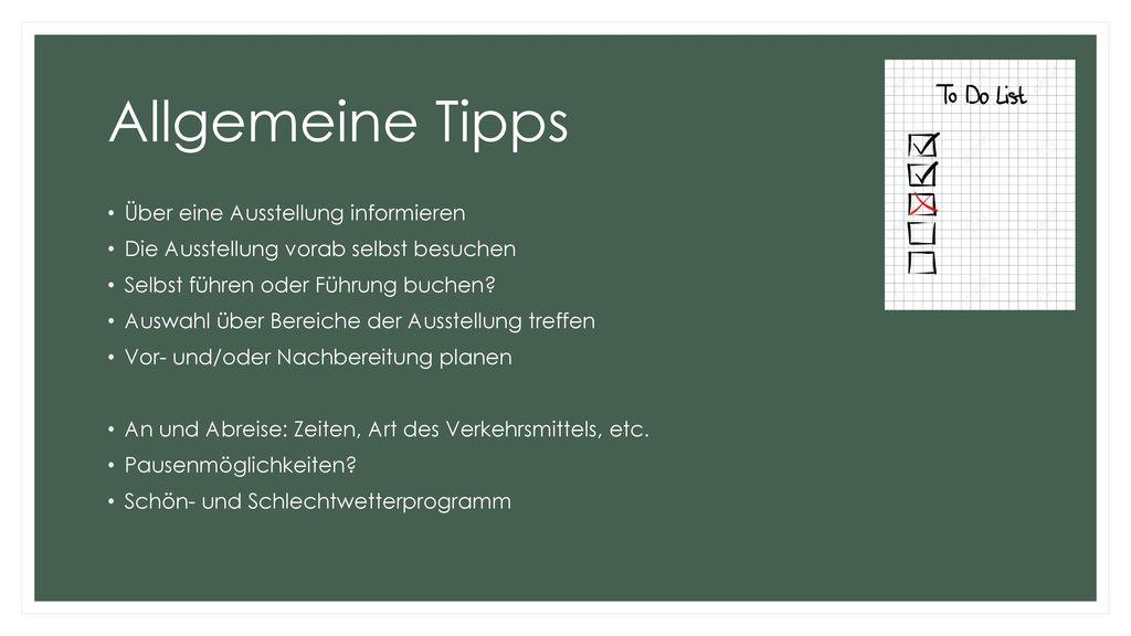 Allgemeine Tipps Über eine Ausstellung informieren
