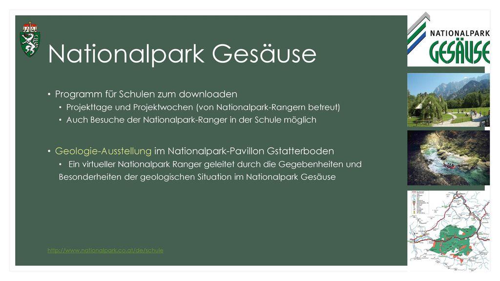Nationalpark Gesäuse Programm für Schulen zum downloaden